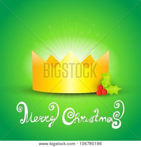 Christmas celebration crown card.