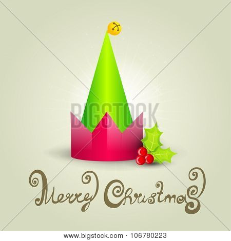 Christmas celebration elf hat card.