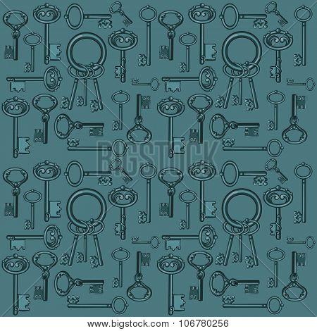 Big set of vintage keys on a dark green background