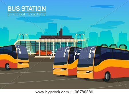 Bus station, vector flat background illustration