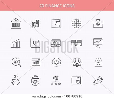 Set of thin, lines, financial service items icons