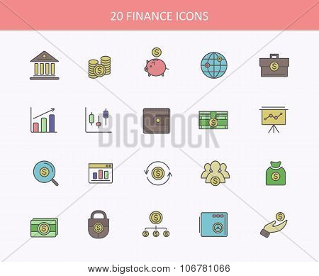 Set of thin, lines, outline financial service items icons