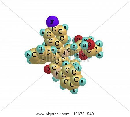 Atorvastatin Lipitor is a member of the drug class known as statins which are used primarily for lowering blood cholesterol and for prevention of events associated with cardiovascular disease, 3d illustration