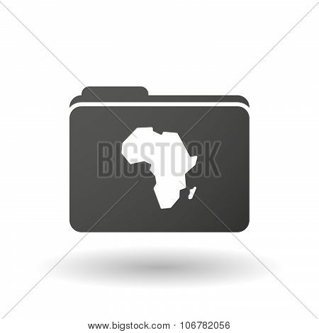 Isolated Binder With  A Map Of The African Continent