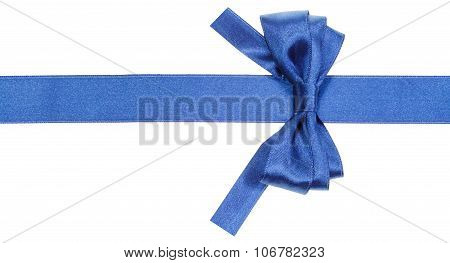 Real Blue Bow With Square Cut Ends On Silk Ribbon
