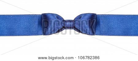 Symmetric Blue Satin Bow Knot On Wide Ribbon