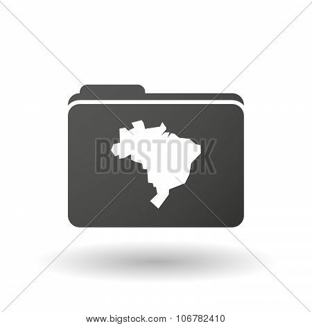 Isolated Binder With  A Map Fo Brazil
