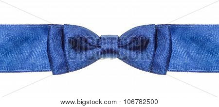 Symmetric Blue Bow Knot On Wide Satin Ribbon