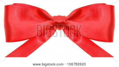 Symmetric Red Bow With Horizontal Cut Ends
