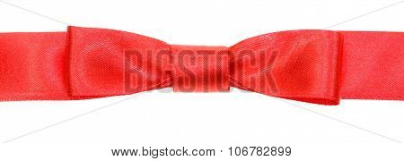 Real Red Bow Knot On Wide Silk Ribbon Isolated