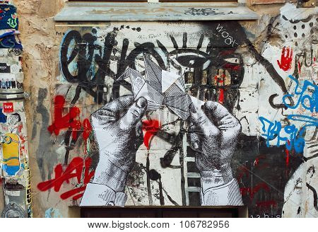 Artwork With Hands On The Wall, Unknown Artist Graffiti