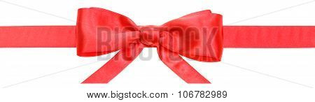 Red Ribbon And Real Bow With Horizontal Cut Ends