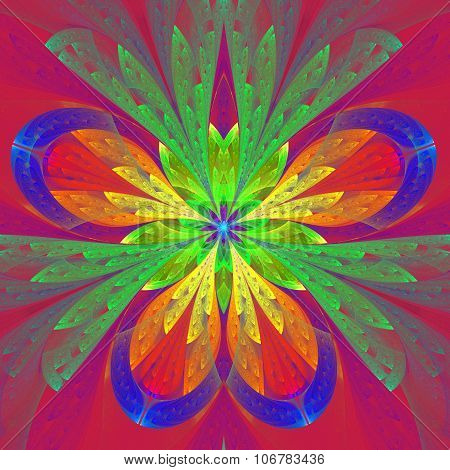 Beautiful Multicolored Fractal Flower Or Butterfly In Stained Glass Window Style