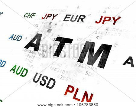 Currency concept: ATM on Digital background