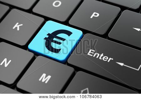 Money concept: Euro on computer keyboard background
