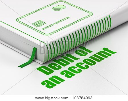 Currency concept: book Credit Card, Debit of An account on white background