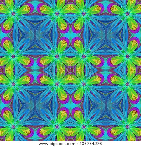 Multicolored Symmetrical Pattern In Stained-glass Window Style On Light