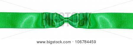 Symmetric Double Bow Knot On Green Satin Ribbon