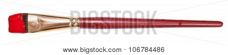Flat Artistic Paint Brush With Red Painted Tip