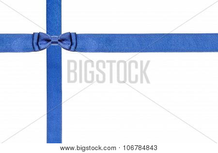 Blue Satin Bows And Ribbons Isolated