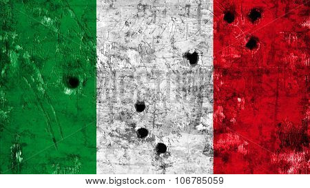 Flag of Italy, Italian flag painted on metal with bullet holes