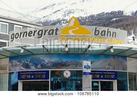 Exterior of the Gornergratbahn train station sign in Zermatt, Switzerland.