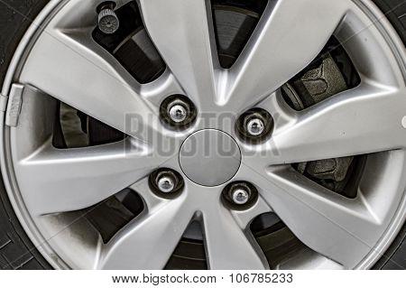 Chrome Alloy Wheel Of Car