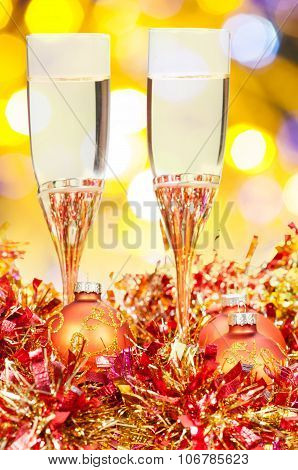 Glasses, Gold Xmass Balls On Blurry Background 9