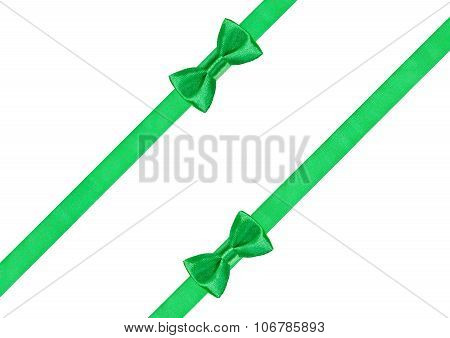 Two Green Bow Knots On Two Diagonal Satin Strips