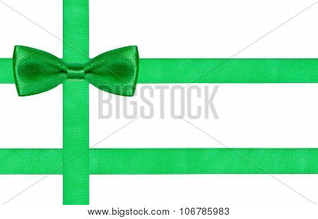 One Big Green Bow Knot On Three Satin Strips