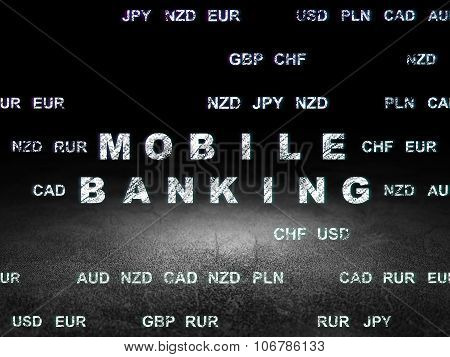 Currency concept: Mobile Banking in grunge dark room