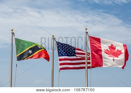 Flags Of St Kitts United States And Canada