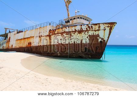 Shipwreck on Caribbean Beach