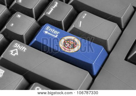 Enter Button With Minnesota State Flag