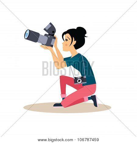 Girl Photographer in Flat Style. Vector Illustration