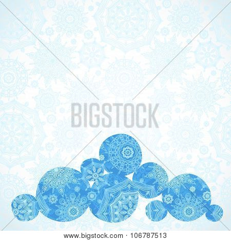 Vector Illustration With Snowballs On Seamless Winter Background.