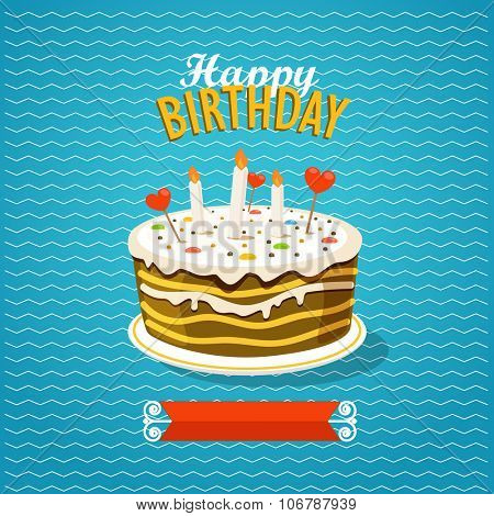 Sweet cake with candles. Greeting card