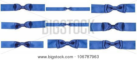 Set Of Blue Bow Knots On Satin Ribbons Isolated