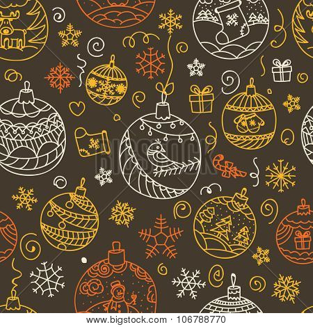 Christmas decorations seamless pattern. Merry Christmas and Happy New year!