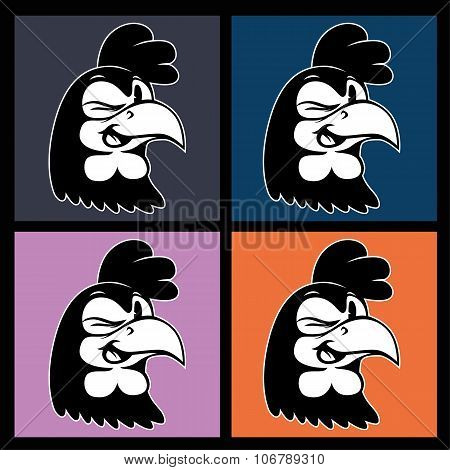Vintage cartoon. four images of smiling and winking retro rooster character on colorful squares