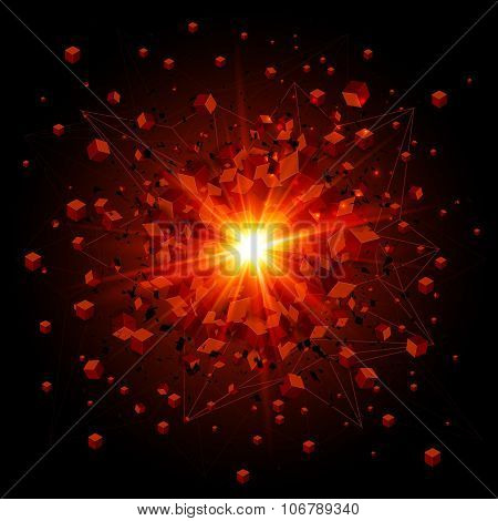 Black cubes and red fire explosion on black background