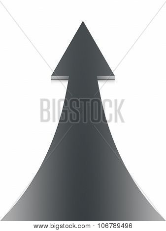 Black up arrow on white background