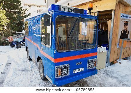 Exterior of the electric police car parked at the street in Zermatt, Switzerland.