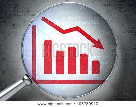 Business concept: Decline Graph with optical glass on digital background