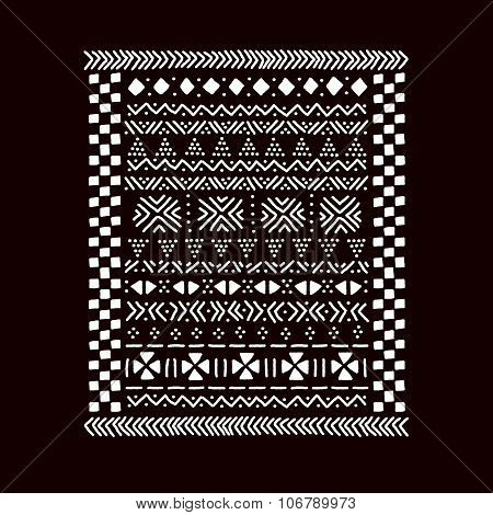 Black and white traditional african mudcloth fabric print, vector