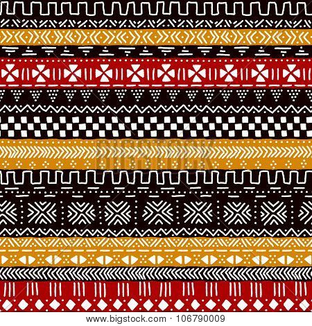 Black red yellow and white traditional african mudcloth fabric seamless pattern, vector
