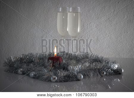 Greeting Card Made Of Christmas And Yew Year Decoration Balls, Tinsel, Candel  And Two Glasses Of Ch