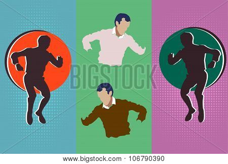 Silhouette Of Man In Different Interpretations Without A Face