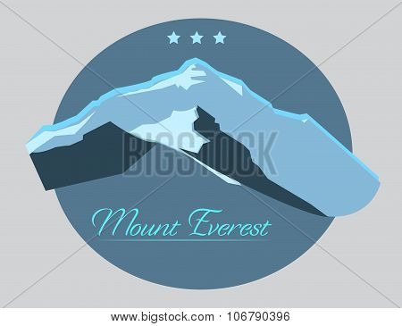 Mount Everest Label With Type Design In Vintage Style