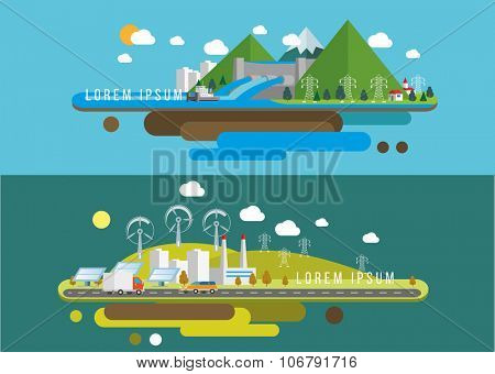 Hills landscape and factory Eco flat illustrations  Vector eps10.
